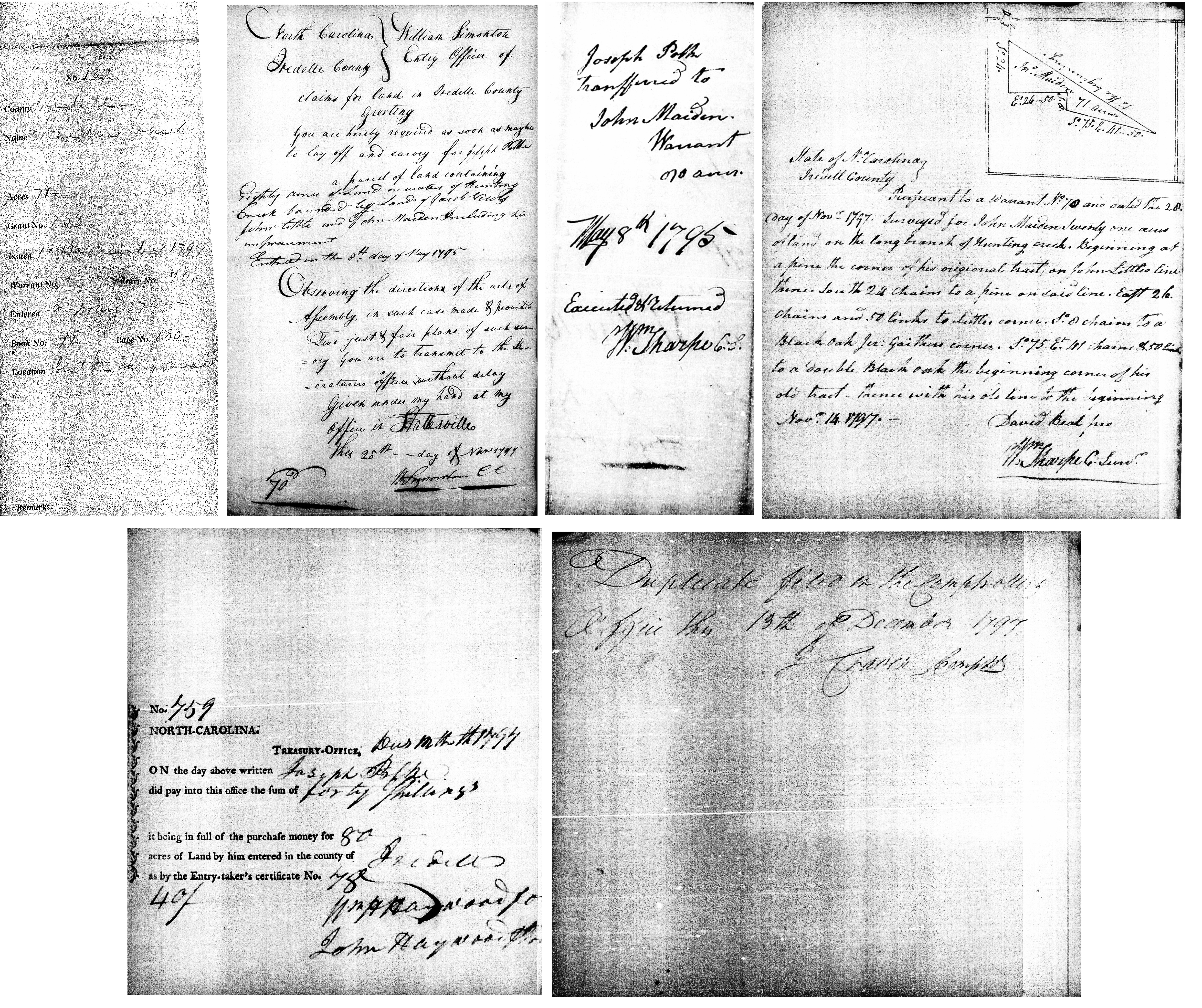 Grant #203, issued 18 December 1797, entered 8 May 1795, Book 92 Page 180,  for 71 acres on the long branch. The curious part of this grant is that it  was ...